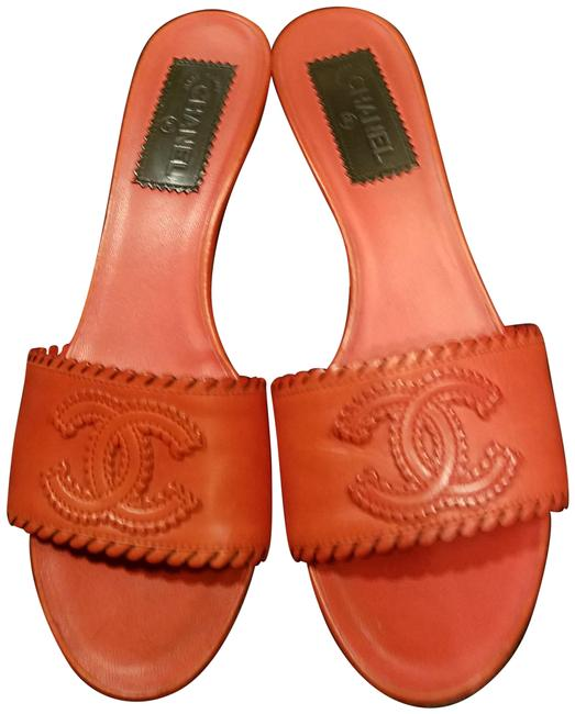 Item - Red Leather with Embossed Cc Icon Kitten Heels Mules/Slides Size EU 38 (Approx. US 8) Regular (M, B)