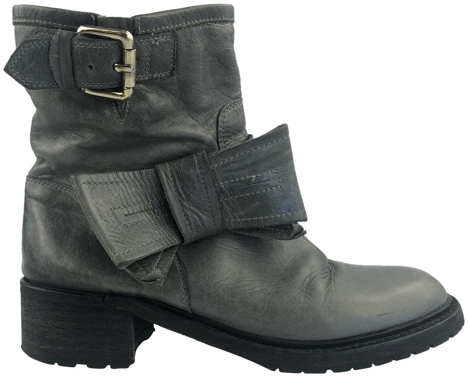RED Valentino Gray Gray Valentino Leather Bow Boots/Booties 847acd
