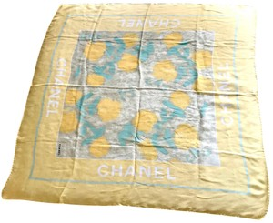 Chanel 100% Silk Yellow Flower Spring Scarf with Box