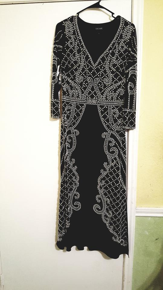 Xscape Black/Silver Beaded Illusion Gown Black/Silver Long Formal ...