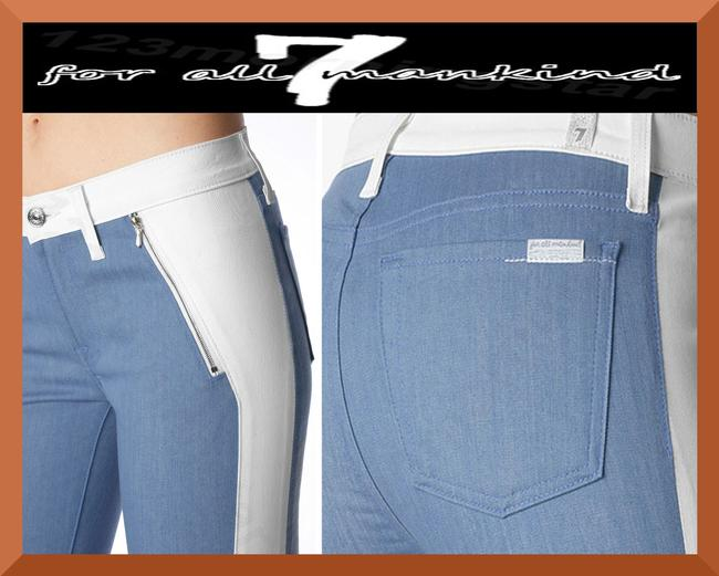 7 For All Mankind Multi-color Blue Coated Faux Leather Denim Pant Style No. Au0388370a Skinny Jeans Size 25 (2, XS) 7 For All Mankind Multi-color Blue Coated Faux Leather Denim Pant Style No. Au0388370a Skinny Jeans Size 25 (2, XS) Image 3