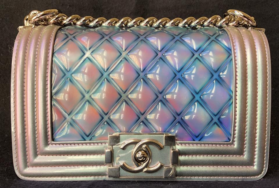 2f825b1d63a5 Chanel Classic Flap Boy Runway Small with Shiny Silver Chain Rainbow ...