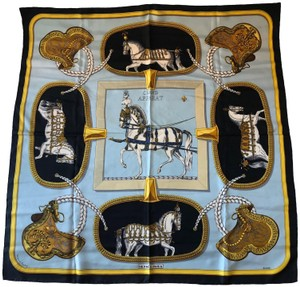 Hermès Authentic Hermes Horse Motif Silk Scarf