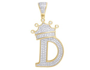 "Jewelry Unlimited 10K Yellow Gold Diamond Tilted Crown Initial ""D"" Pendant 0.55 Ct 1.75"""