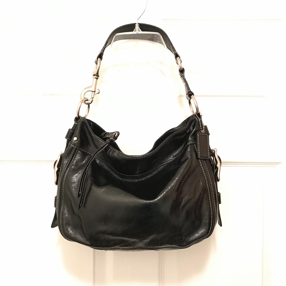 7c0e09fd19 Coach Zoe F12735 Black Silver Patent Leather Hobo Bag - Tradesy