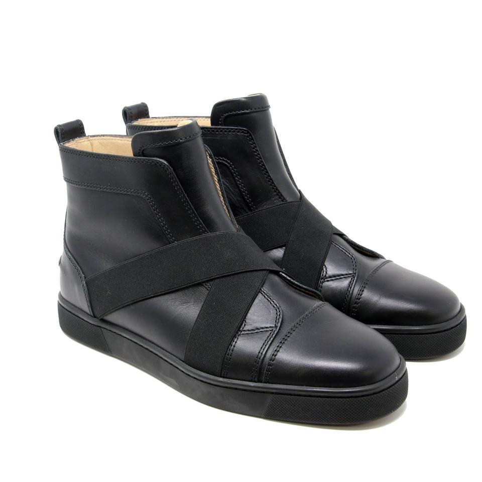 00f81fef5159 Christian Louboutin Black Signature Sneak In Flat Calf Leather Cross Strap  Sneakers 40 7.5 Sneakers