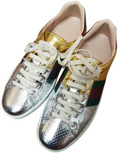 Gucci Ace Sneakers Snakeskin Logomania Sneakers Gold, silver Athletic