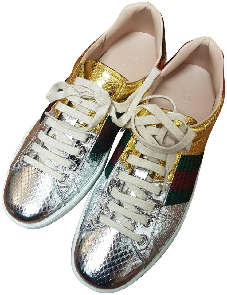 14b4783a1294 Gucci Gold Silver New Ace Metallic Snakeskin Sneaker 7.5g Sneakers ...