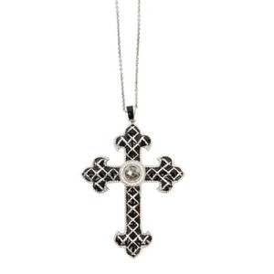 Jude Frances Black Fleur Cross Pendant Necklace