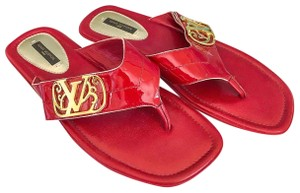 Louis Vuitton Patent Leather Flip Red Sandals