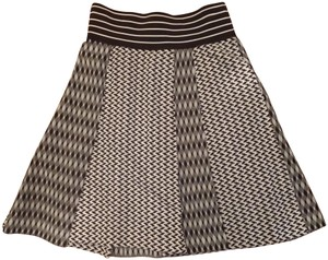 Missoni Geometric A-line Designer Pleated Skirt Black and White