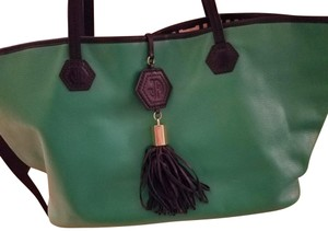 Jonathan Adler Tote in green with blue handles and blue tassel closure
