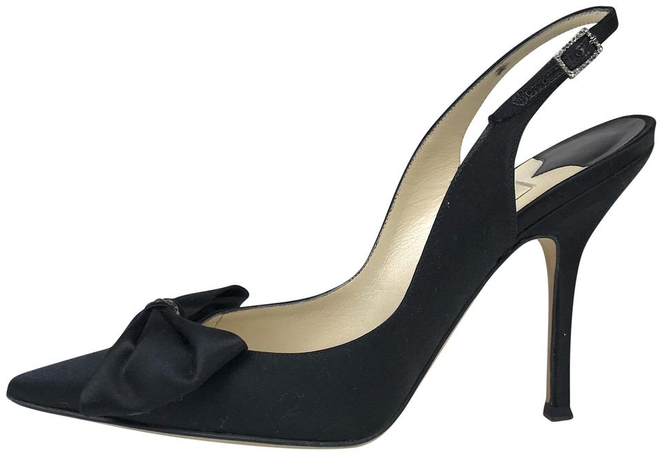 1e27dc30d53 Jimmy Choo Black Satin Pointy Toe Bow Slingback Pumps Size EU 39.5 (Approx.  US 9.5) Regular (M, B) 70% off retail