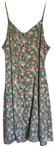 Comme Toi short dress Floral aqua/green with pink flowers on Tradesy