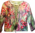 Alberto Makali Floral, colorful with pink, lime green, blue, purple , yellow. Jacket