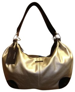 Vittorio Hardware Silverescent Patent Leather Bold Hardware Satchel in taupe silver and black