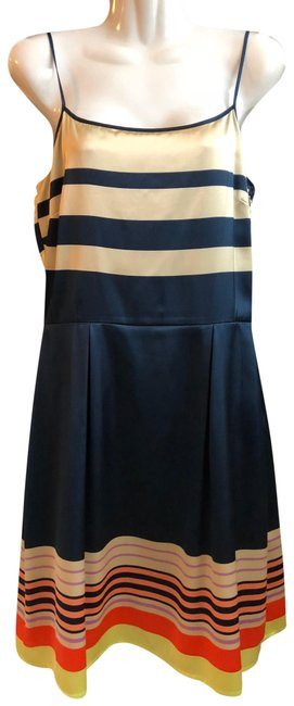 Item - Navy/Ivory/Orange Faux Silk Striped Satin Mid-length Cocktail Dress Size 6 (S)