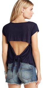 Free People Bohemian Knot Back Cut-out Open Back Boho T Shirt Midnight