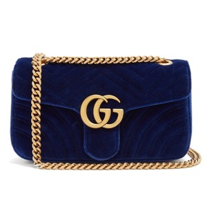 f5bcba1e8df7 Added to Shopping Bag. Gucci Marmont Velvet Blue Shoulder Bag. Gucci Marmont  New Gg Small ...