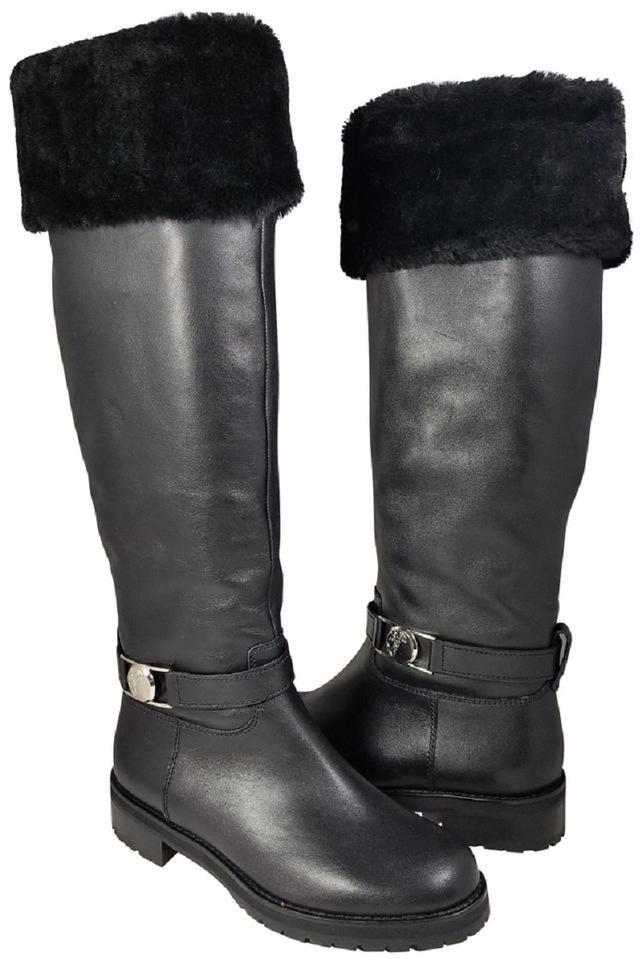 7ca1c4ed4663 Versace Collection Black New Shearling Lining Tall Winter Boots ...