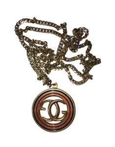 Gucci Gucci Monogram 18 kt Gold Plated Black & Red Enamel Necklace