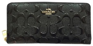 Coach NEW! Black Patent Leather Accordion Zip Wallet Signature Gold Madison