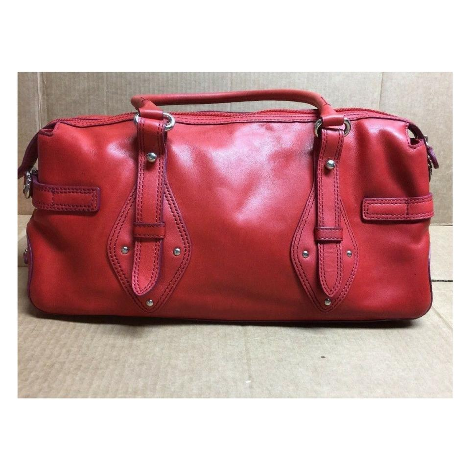 62101a502d Cole Haan Chic Red Silver Buckle Trinity Purse Coral Leather Satchel ...