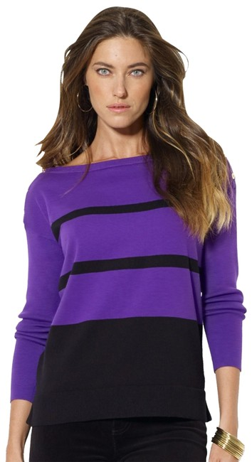 Item - Oversized Thin Striped Shoulder-buttons Style #201198023n93 Multi-color Purple Sweater