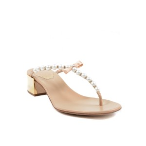 Rene Caovilla Pearl Spring Leather Italian Gold Pink Sandals
