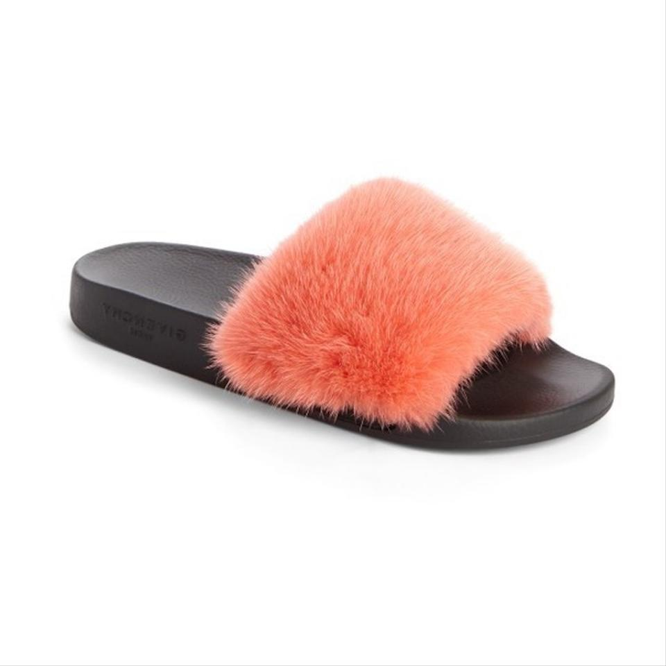 Givenchy coral paris red orange mink fur pool slide flipflop flat sandals size eu 40 approx us - Pool fur kleinkinder ...