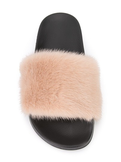 Givenchy beige paris pink mink fur black pool slide flipflop flat sandals size eu 40 approx us - Pool fur kleinkinder ...