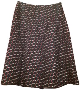 Talbots Silk High Waisted Pleated Skirt Navy, Red, White