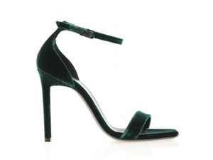 Saint Laurent Stiletto Amber Tribute Ankle Strap Sandal Green Pumps