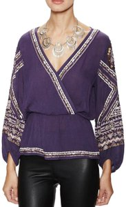 Free People Longsleeve Embroidered V-neck Plunge Top Purple