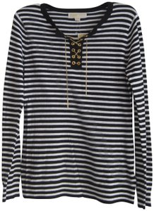 MICHAEL Michael Kors Chain Lace-up Split Neck Grommets Striped/Solid Print Gold Hardware Sweater