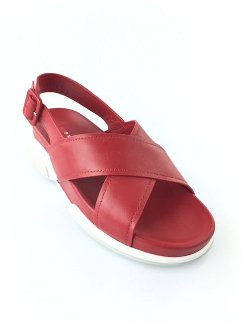 Item - Red Strappy Open Toe Leather Sandals Size EU 37.5 (Approx. US 7.5) Regular (M, B)
