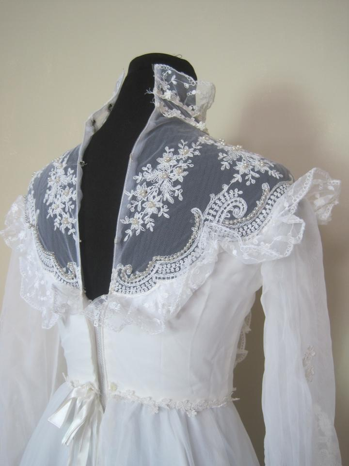 White Victorian Style Gown 70s Retro Sheer Sleeve Pearl Lace ...