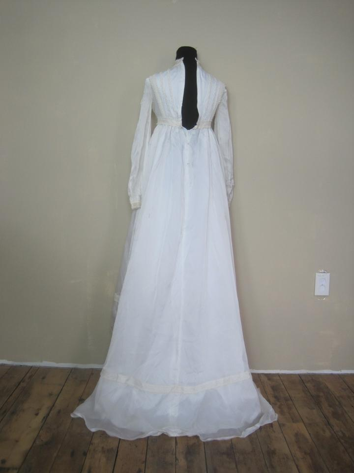 White Edwardian Bridal Gown Crocheted Lace Empire Vintage Wedding ...