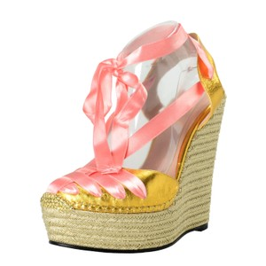 Gucci Gold / Pink Wedges
