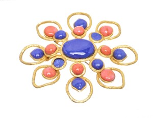Chanel Gold Multicolor Faux Stones Flower Vintage 93p Brooch/Pin