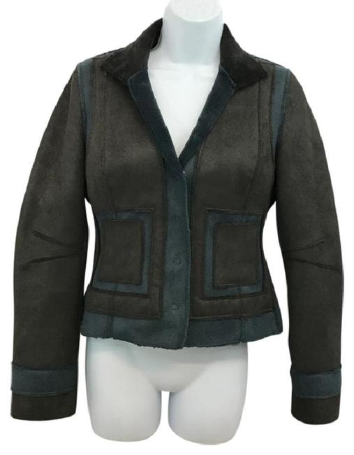 Item - Brown And Blue Faux Suede 36 Jacket Size 2 (XS)