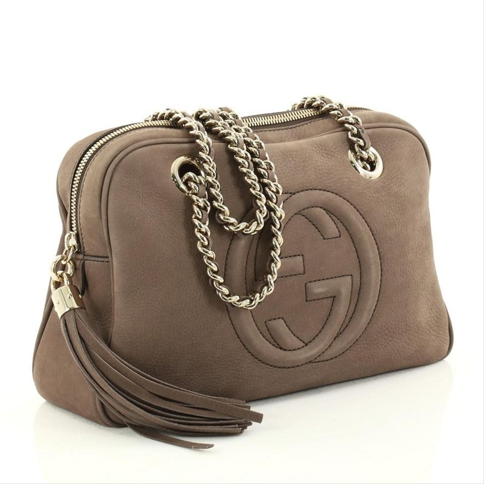8e3450e80301 Gucci Soho Chain Zipped Small Taupe Nubuck Leather Shoulder Bag ...