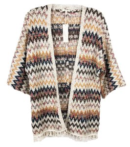 Mystree Zig Zag Fringe Hem Open Long Cardigan Sweater