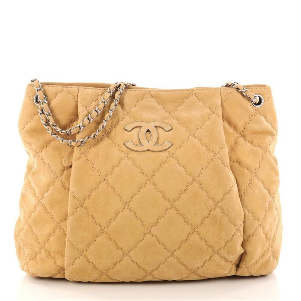 7bc4a025d72dff Chanel Double Stitch Hampton Quilted Large Light Brown Nubuck ...