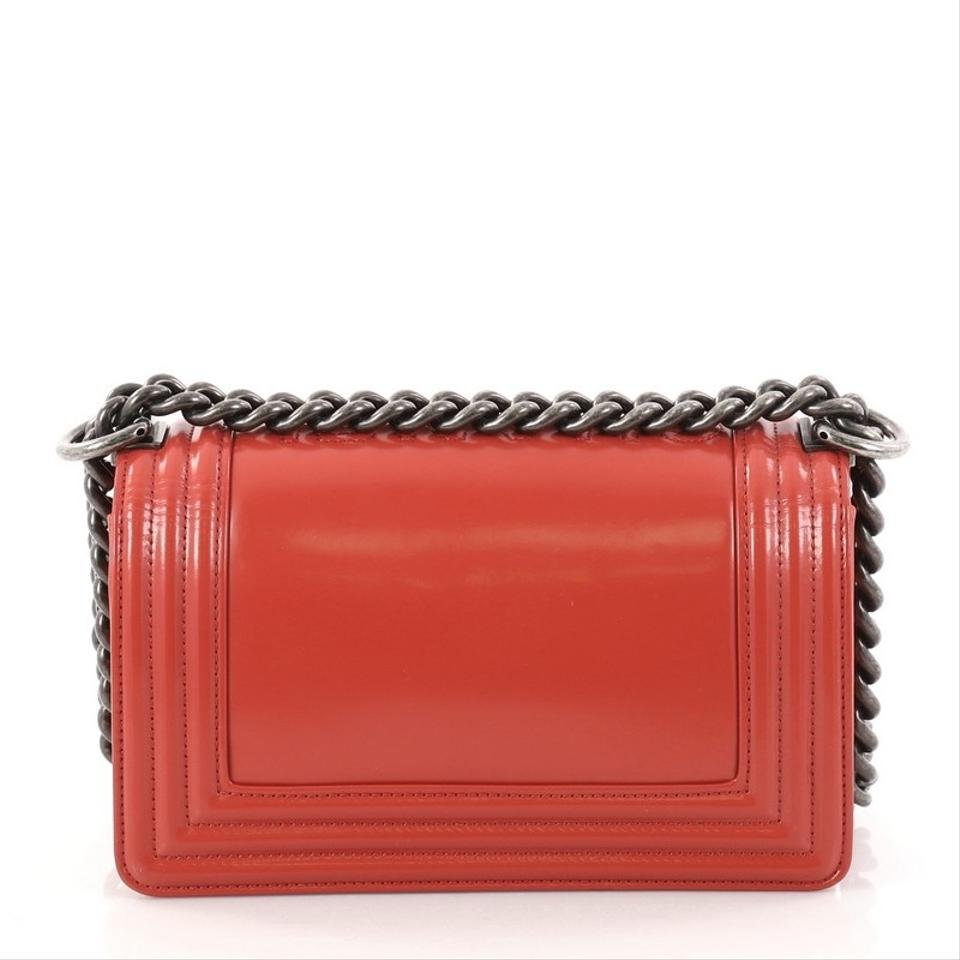 db30193ec290 Chanel Classic Flap Boy Reverso Glazed Small Red Calfskin Leather ...