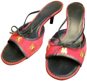 Chanel Red Linen with clover gold Chanel Logo Flats