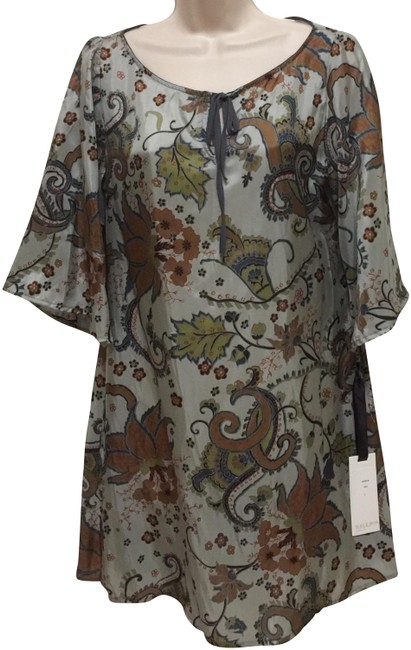 Item - Green Blue Paisley Tunic Mid-length Short Casual Dress Size 4 (S)