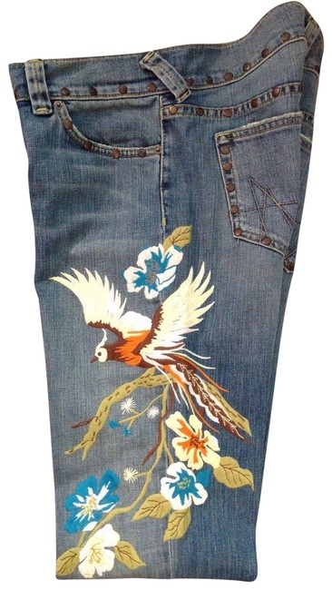 Preload https://img-static.tradesy.com/item/23123243/abs-by-allen-schwartz-blue-distressed-bird-of-paradise-great-condition-flare-leg-jeans-size-28-4-s-0-1-650-650.jpg