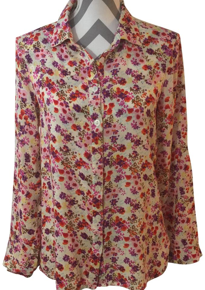 4b4931a4ab5 Belle du Jour Floral XL Laced Back Button-down Top Size 16 (XL, Plus 0x)