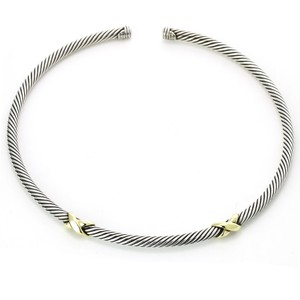 David Yurman David Yurman 5mm Cable Classics X Station Open Collar Necklace